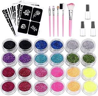 SunTop Glittertattooset, make-upset voor tijdelijke tattoo's met 24 grote potjes glitter, 120 sjablonen, 3 flesjes lijm en...