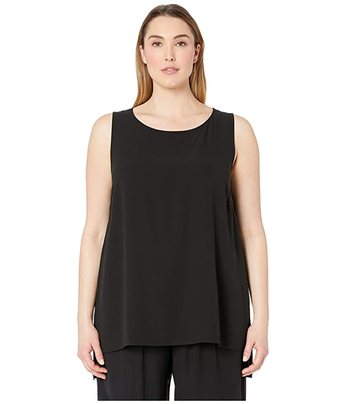 Eileen Fisher  Plus Size Silk Georgette Crepe Bateau Neck Long Shell (Black) Womens Blouse