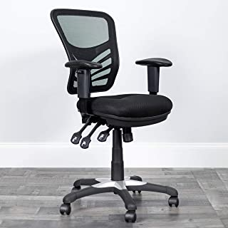Flash Furniture Mid-Back Black Mesh Multifunction Executive Swivel Ergonomic Office Chair with Adjustable Arms, BIFMA Certified