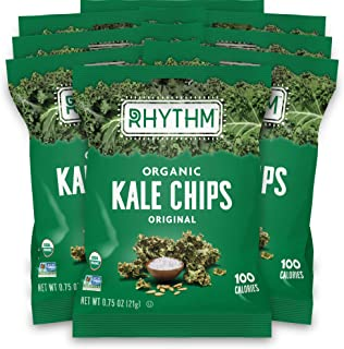 Rhythm Superfoods Kale Chips, Original, Organic and Non-GMO, 0.75 Oz (Pack of 8) Single Serves, Vegan/Gluten-Free Superfoo...