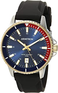 Armitron Men's Two-Tone Watch with Black Silicone Strap, 20/5433NVTTBK