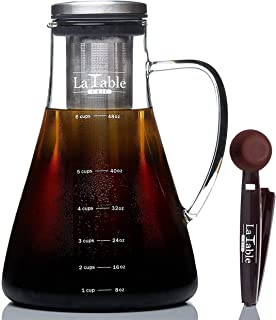 Cold Brew Coffee Maker and Tea Maker - Large 1.5L/50oz - Bonus Spoon - Glass Loose Leaf Iced Tea Infuser & Ultra Fine Double Mesh Stainless Steel Filter, Dishwasher Safe, Coffee Fresh For 2 Weeks