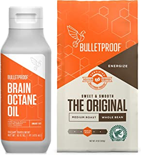 Bulletproof Original 12oz Whole Bean Coffee & 16oz Brain Octane MCT Oil Bundle kit - Perfect for Keto and Paleo Diet, 100% Non-GMO Gourmet Organic Beans, Responsibly Sourced Premium C8 Oil