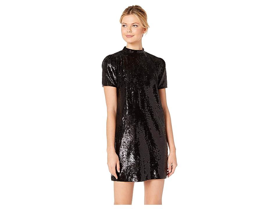 MICHAEL Michael Kors Mock Neck Short Sleeve Dress (Black) Women