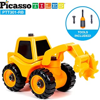 PicassoTiles DIY Take-A-Part Construction Truck Toys Car Set Bulldozer Dismantling Toy Building Kit with Child-Size Safe Large Parts, Reversible Screw Driver Nuts & Bolts PTT301 (Roller Blade)
