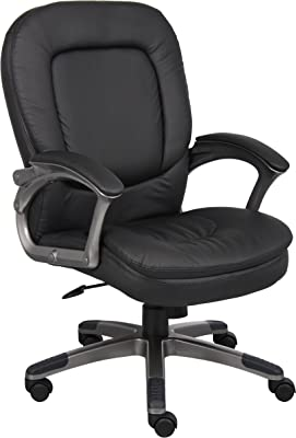 Boss Office Products Executive Mid Back Pillow Top Chair with Headrest in Black