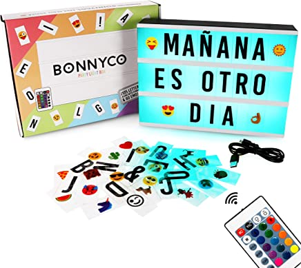 Caja de Luz A4 de Colores con 165 Letras y Emojis, Mando y USB – BONNYCO |Ñ y Ç | Cartel Luminoso LED con 16 Colores, Ideal para Decoración Hogar, Regalo Amigo Invisible, Navidad o Cumpleaños