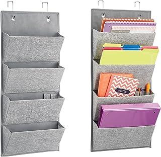 mDesign Set of 2 Office Storage Organiser – Linen Over Door Storage Rack in Jute Pattern – 4 Hanging Storage Pockets for N...
