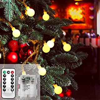 Battery Operated String Lights, 49ft /15m 120 LED Bulb Warm White Globe String Lights with Remote Controller, Decorative T...