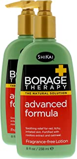 ShiKai - Borage Therapy Plant-Based Advanced Dry Skin Lotion, Soothing & Moisturizing Relief for Dry, Irritated & Itchy Skin, Non-Greasy, Sensitive Skin Friendly (Fragrance-Free, 8 Ounces, Pack of 2)