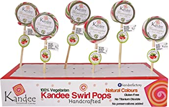 Kandee Swirl Pops Watermelon Twist Round Natural Candy Lollipop (2.25 Inch)- Pack of 6