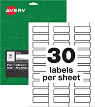 Avery PermaTrack Durable White Asset Tag Labels, 3/4