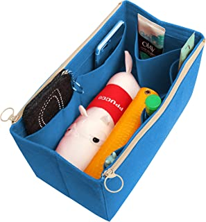 [Fits Various Bags, L.V Her.mes Long.champ Go.yard] Felt Tote Organizer (w/Double Zipper Pockets), Purse Insert, Cosmetic Makeup Diaper Handbag, Belongings Pocket