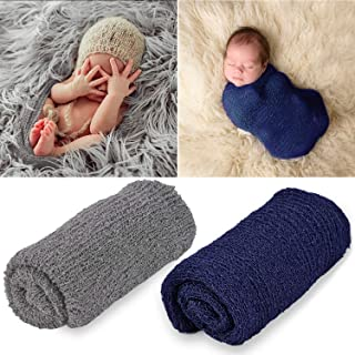 Outgeek Newborn Baby Photography Props 2 Pcs Long Ripple Wrap Newborn Props Baby Photo Props DIY Newborn Photography Wrap (Navy and Light Grey)