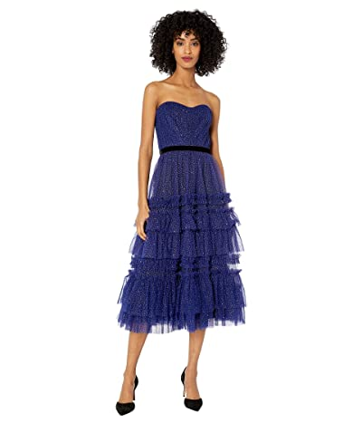 Marchesa Notte Strapless Glitter Tulle Textured Tea-Length Gown with Contoured Bodice and Velvet Ribbon Waist Trim (Royal) Women