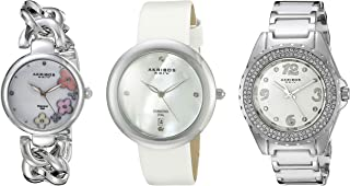 Akribos XXIV Womens Quartz Watch, Analog Display and Stainless Steel Strap AK887SS