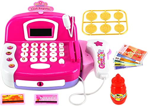Smart Flower Cash Register Pretend Play Battery Operated Toy Cash Register w  Working Scanning Action, Real Calculator, Working Microphone, Accessories