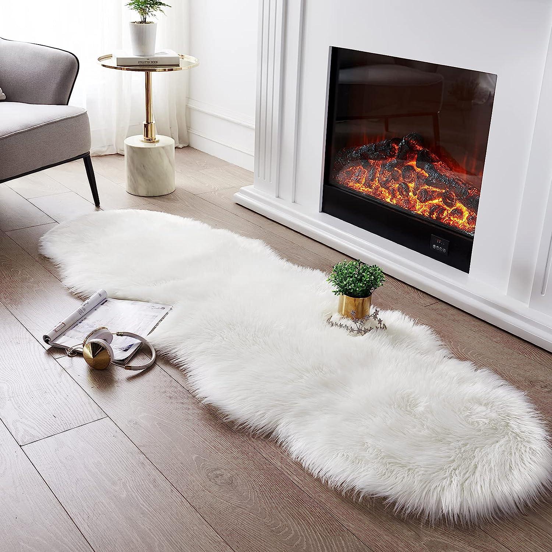 Ultra Soft Fluffy Austin Mall Rug White Faux Sheepskin Shaggy Area C Cheap sale Fur
