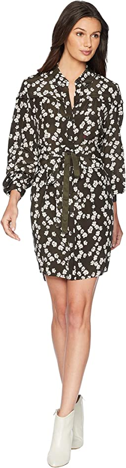 Soft Woven Abbey Floral Silk Shirtdress