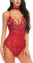 ADOME Women Lingerie Bodysuit Embroidered Lace Teddy with Choker One Piece Babydoll