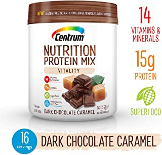Centrum Nutrition Protein Powder Mix Vitality, Dark Chocolate Caramel Flavor   Gluten Free, Vitamins, Minerals, Superfood & Antioxidants   19.7 Oz, 16 Servings