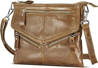 Lecxci Women's Small Vintage Leather Cross body Handbags, Zipper Travel Crossbody Bags Purses for Women