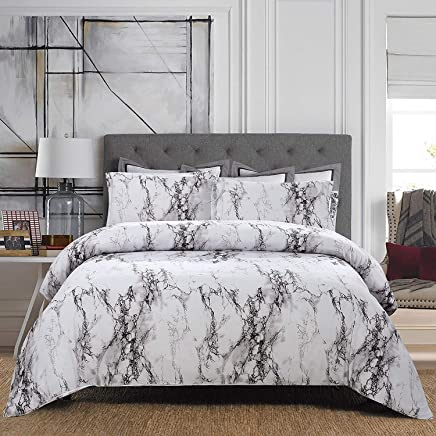 featured product FLCA Marble Duvet Cover Set,  Black White and Gray Grey Modern Pattern Printed,  Soft Microfiber Bedding with Zipper Closure (White-Marble,  Queen)