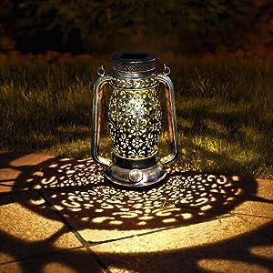 Kaixoxin Solar Lantern Lights Retro Silver Metal Decorative Light for Hanging or Table Outdoor Solar Light for Patio Courtyard Garden (Silver-Oil lamp)