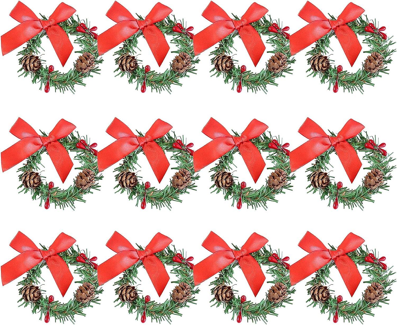 SAHLA 12 Pieces Christmas Napkin Mini Cheap sale 2.8inch Set Rings Deluxe Christma