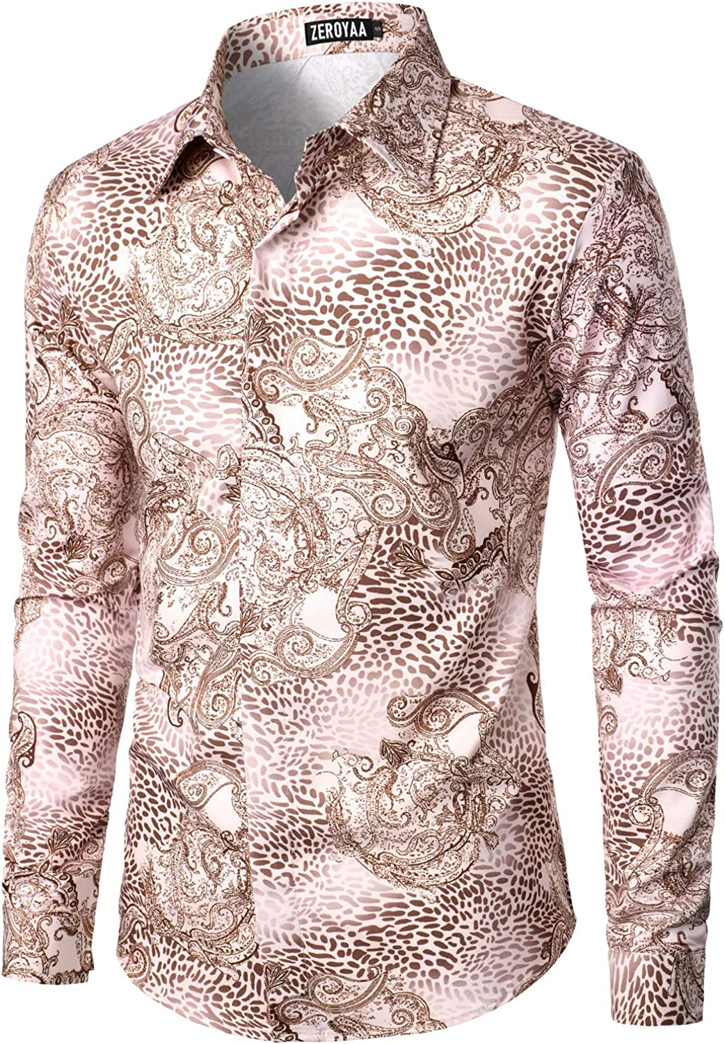 ZEROYAA Men's Hipster Printed Polyester Slim Fit Long Sleeve Button Down Floral Dress Shirts