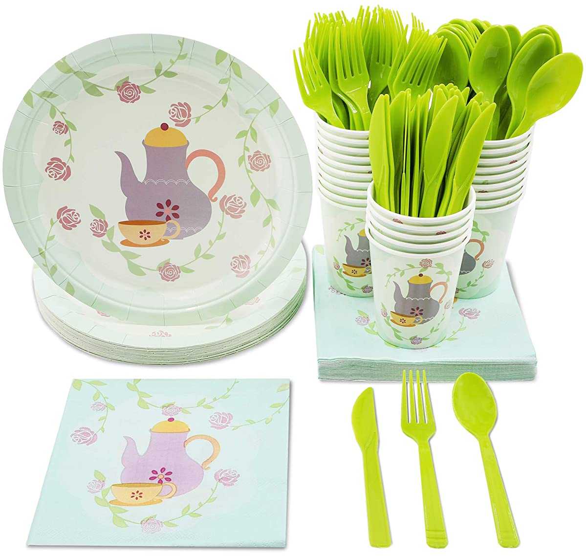 Tea Party Supplies – Serves 24 – Includes Plates, Knives, Spoons, Forks, Cups and Napkins. Perfect Birthday Party Pack for Girls Themed Tea Parties, Vintage Floral Tea Party Design