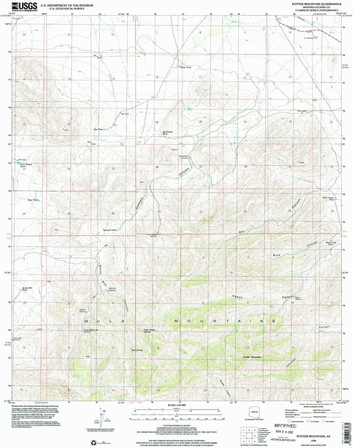 YellowMaps Potter Mountain Rapid rise AZ Over item handling topo X map 7.5 1:24000 Scale