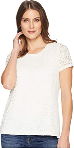 Short Sleeve Lace Knit Top