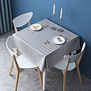 Thimmamma Nappe carrée en Vinyle PVC Lavable, imperméable et rectangulaire pour Table, Grise Grise, Facile à Nettoyer, rés...