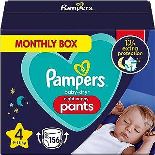 Pampers Baby-Dry Night Luierbroek Maat 4, 156 Luiers, 9kg-15kg, Pampers Night Pants Bieden Extra Bescherming De Hele Nacht...