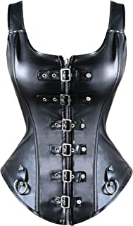 Steampunk Rock Faux Leather Buckle-up Corset Bustier with Zipper Basque Top Christmas Costume
