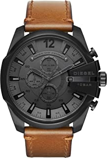 Men's Mega Chief Stainless Steel Japanese-Quartz Watch with Leather Calfskin Strap, Brown, 26 (Model: DZ4463)