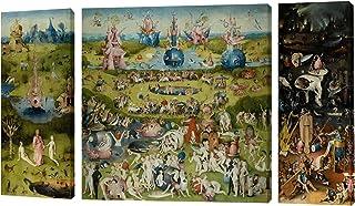 Fajerminart 3 Paneles Cuadro De Madera Pintura - Famous The Garden of Earthly Delicias Cielo/Mundo / Infierno Cuadro En Lienzo Tamaño Total 130x70cm (30x70cm + 70x70cm + 30x70cm)(Marco De Madera)