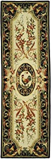 Safavieh Chelsea Collection HK48K Hand-Hooked Ivory and Black Premium Wool Runner (2'6