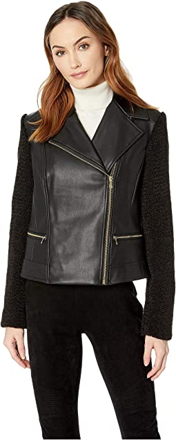 Faux Leather Biker Jacket with Faux Sherpa Sleeves