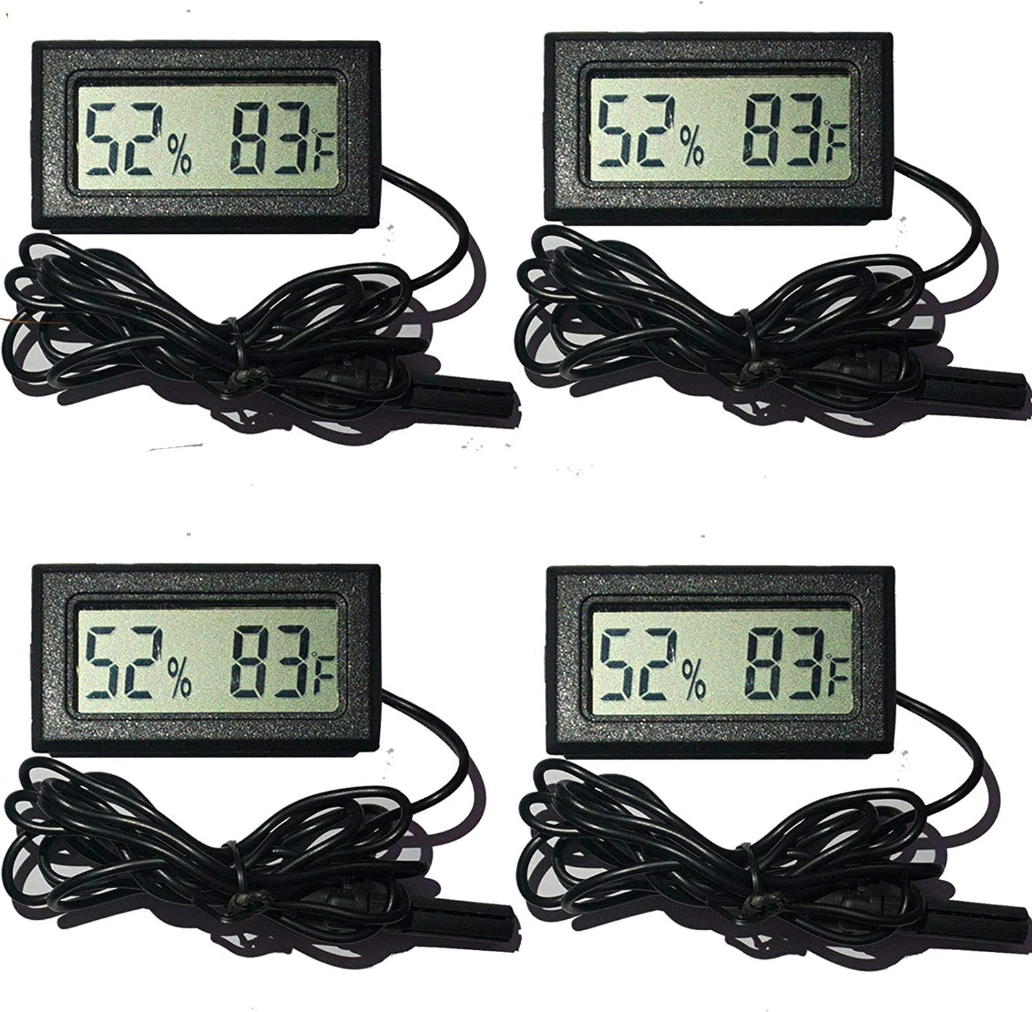 Digital Humidity Temperature Gauge with LCD Dispaly for Humidors Home Greenhouse Babyroom Reptile Incubator Brooders Indoor Room Fahrenheit ℉ 2 Pack Mini Hygrometer Thermometer Meter with Probe