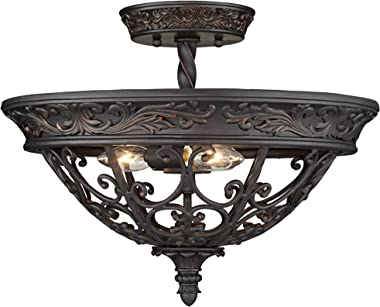"""French Scroll Rustic Farmhouse Ceiling Light Semi Flush Mount Fixture Rubbed Bronze Scrollwork 16 1/2"""" Wide for Bedroom Kitchen Living Room Hallway Bathroom - Franklin Iron Works"""