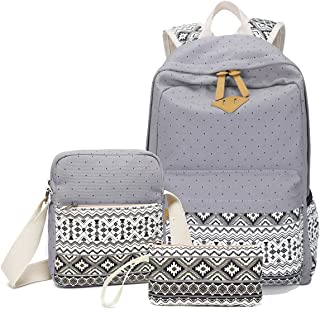 Abshoo Canvas Dot Backpack Cute Teen Girls Backpacks Set 3 Pcs School Bookbags, 201 Grey (Grey) - ZLSB0201B07