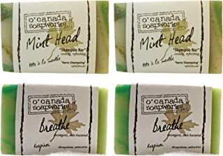O'Canada Soapworks Mint Shampoo Bar and Soap Bundle With Essential Oils and Natural Ingredients 4x 135 Grams