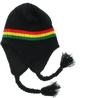 JFH Group Rasta Hippie Jamaican Winter Ear Flap Hat (One Size)-Black