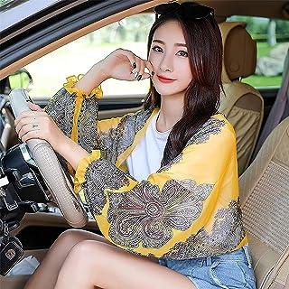 Hengyuan 2Pcs Driving/Traveling Sun-Protective Shawl, Summer Vintage Print Loose Breathable Sunproof Sleeve Shawl (#8)