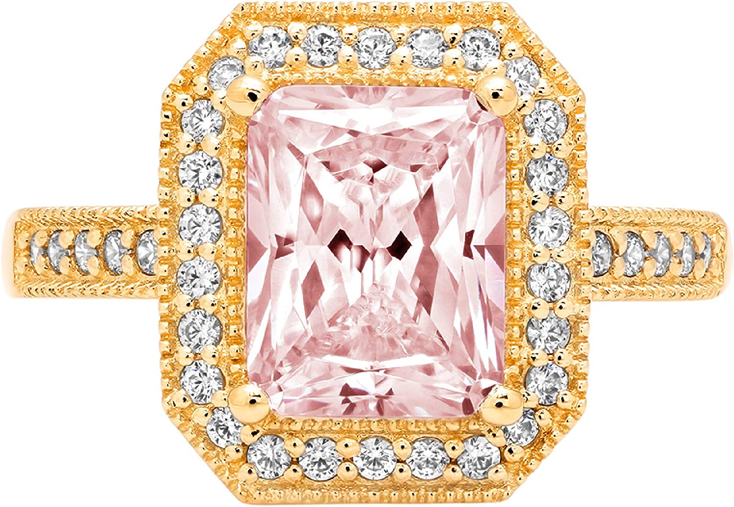 2.81ct Brilliant gift Be super welcome Emerald Cut Solitaire with Accent Sim Halo Pink