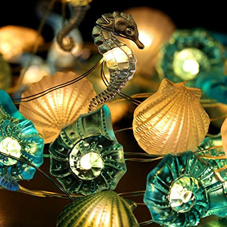Details about  /Beach Theme Christmas Ornaments Sea Shells Scallop String Lights 10 ft 40 LEDs