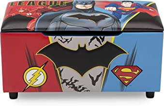 DC Comics Justice League Upholstered Storage Bench for Kids   Perfect for Bedrooms/Playrooms/Living Rooms   Features Fun Graphics of Batman, Superman, Flash