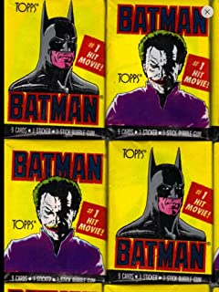 Batman Trading Cards (4) Unopened Wax Pack Lot Trading Cards and Stickers 1989 Topps First Series Non-sport